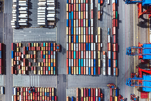 Aerial view of a Container harbour