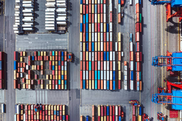 Aerial view of a Container harbour stock photo
