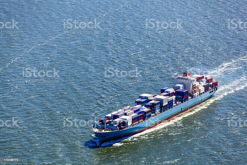 Aerial view of a container ship stock photo