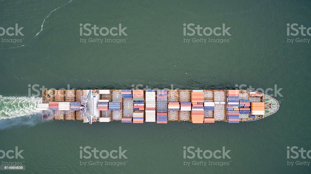 aerial view of a container ship. stock photo