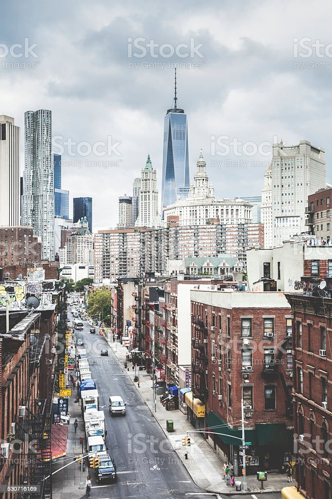 Aerial view of a corner in Chinatown, New York stock photo
