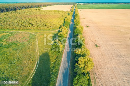 1155573645istockphoto Aerial view of a country road, fields and an orchard on a sunny day. Rural landscape 1004691540