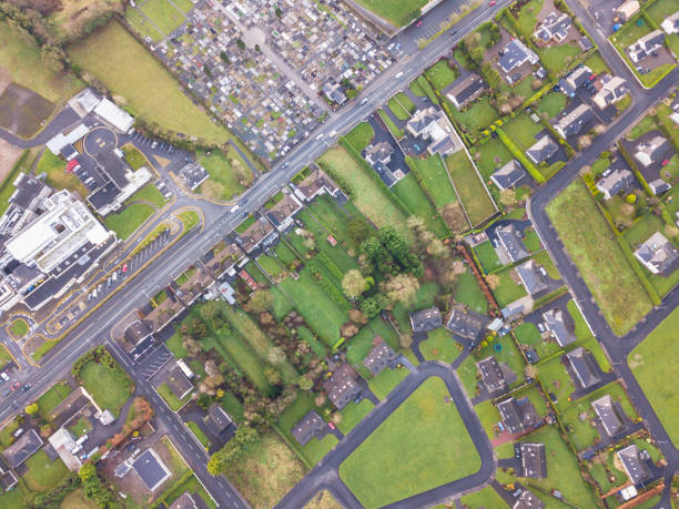 Aerial view of a country town, Roscommon,Ireland. stock photo