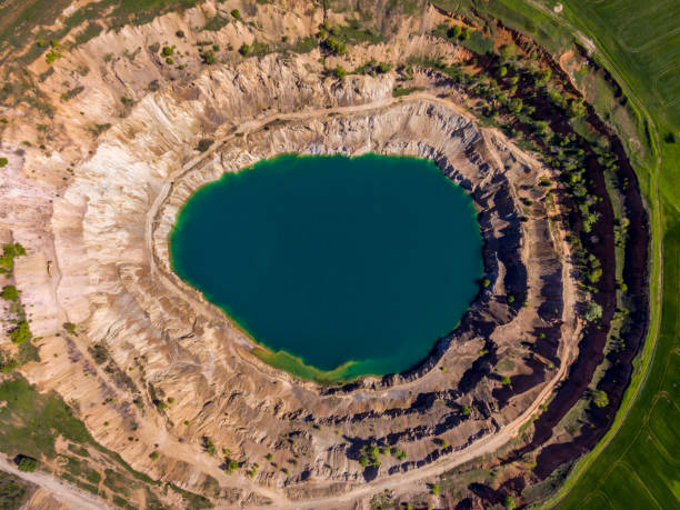 Aerial view of a crater of a minig pit stock photo
