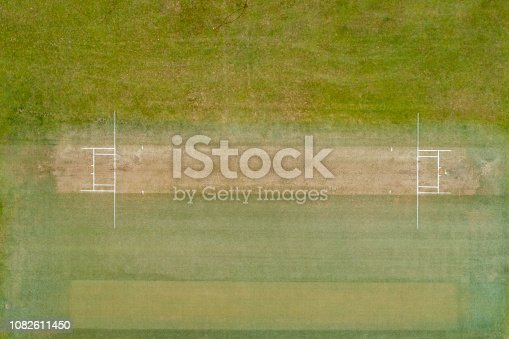 Aerial view of a cricket ground.
