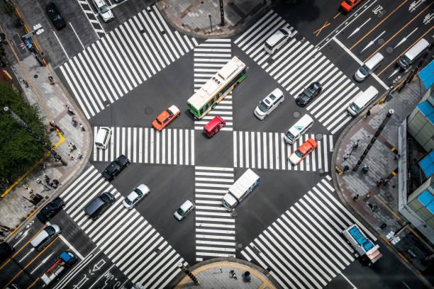 銀座の交差点の空撮 - バス ストックフォトと画像