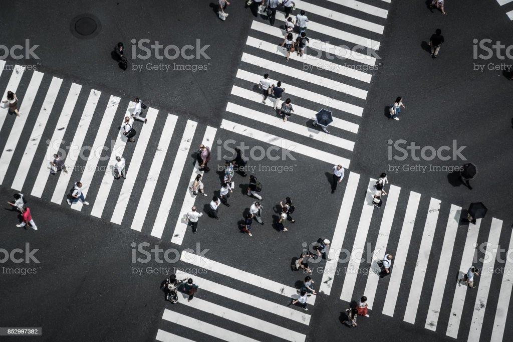 Luftaufnahme von einer Kreuzung in Ginza - Lizenzfrei Ansicht von oben Stock-Foto