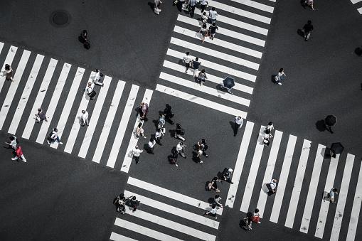 Luftaufnahme Von Einer Kreuzung In Ginza Stockfoto und mehr Bilder von Ansicht von oben