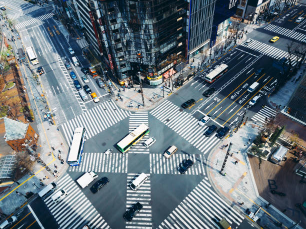Aerial View of a Crossing in Ginza, Tokyo - Japan stock photo