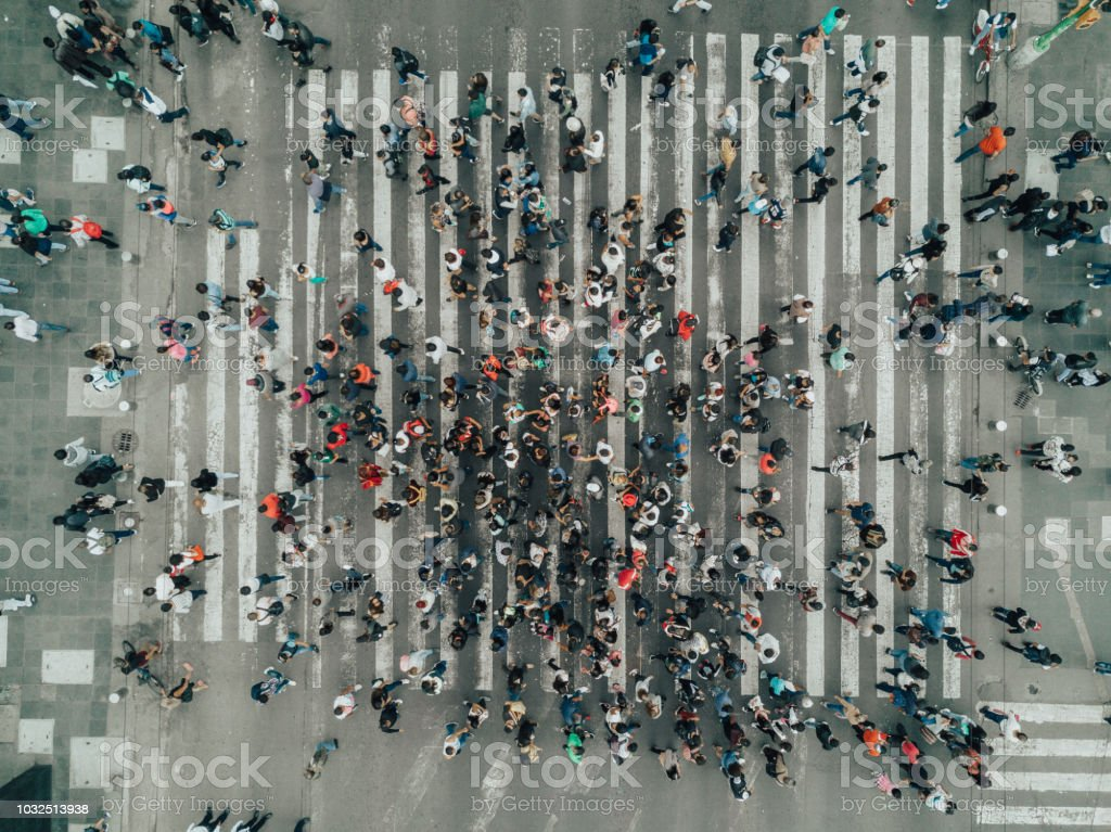 Aerial View of a Crossing in Mexico City stock photo