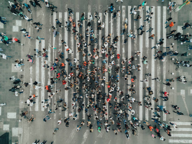 aerial view of a crossing in mexico city - people imagens e fotografias de stock