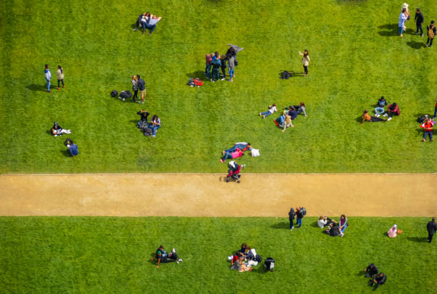Aerial View Of A Crowd People In Park Stock Photo