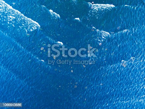 1143575463 istock photo Aerial View of a Crystal clear sea water texture. View from above Natural blue background. Turquoise ripple water reflection in tropical beach. Blue ocean wave. Summer sea. Top view. Aerial photography 1066643686