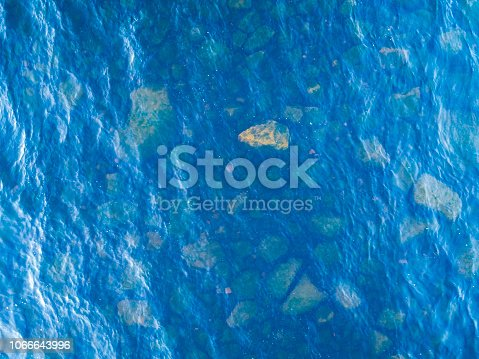 1143575463 istock photo Aerial View of a Crystal clear sea water texture. View from above Natural blue background. Turquoise ripple water reflection in tropical beach. Blue ocean wave. Summer sea. Top view. Aerial photography 1066643996
