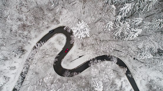 Aerial View Of A Curvy Road In Winter Stock Photo - Download Image Now