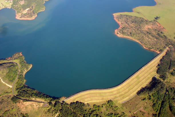 Aerial view of a Dam - Brazil stock photo