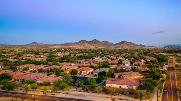 Aerial view of a desert community stock photo
