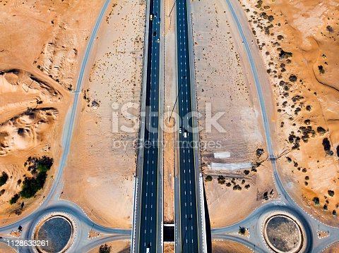 531886585 istock photo Aerial view of a desert road 1128633261