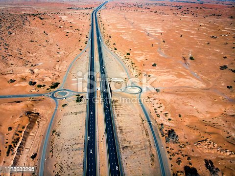 531886585 istock photo Aerial view of a desert road 1128633295