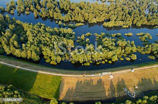 Aerial view of a dike on the Danube and its floodplain in Kopacki rit Nature Park, Croatia