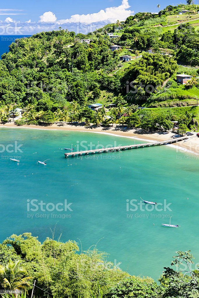 Aerial view of a dock on Parlatuvier Bay stock photo