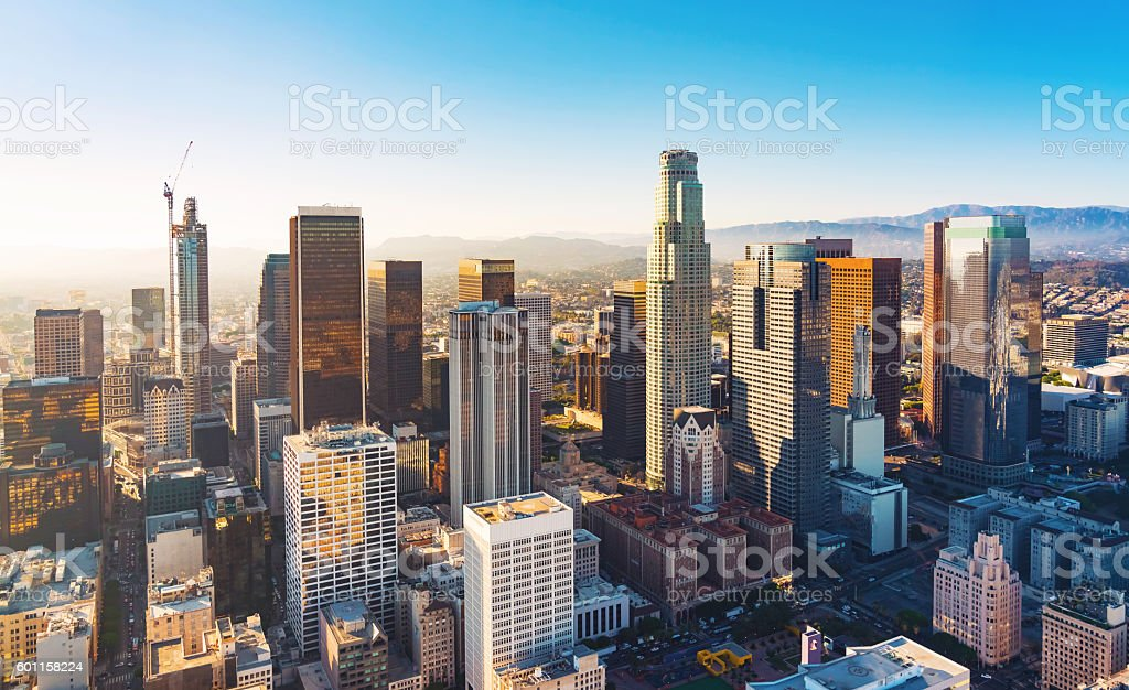 Aerial view of a Downtown LA at sunset royalty-free stock photo