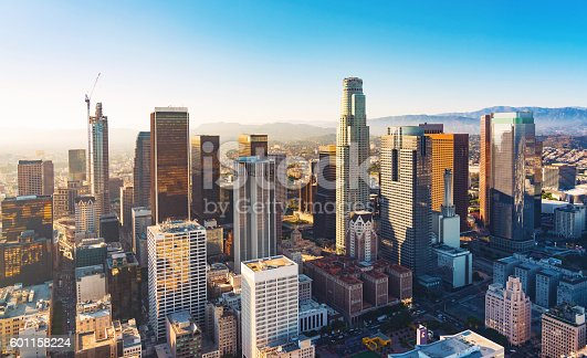 istock Aerial view of a Downtown LA at sunset 601158224