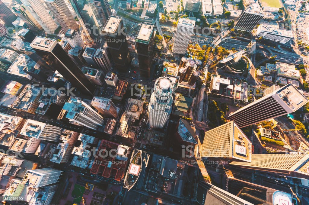 Aerial view of a Downtown LA stock photo
