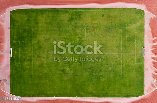 931661614 istock photo Aerial view of a football field 1174415070