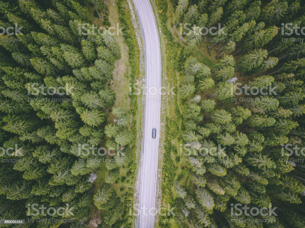 Aerial view of a forest road stock photo