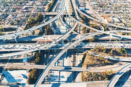 istock Aerial view of a freeway intersection in Los Angeles 601158352
