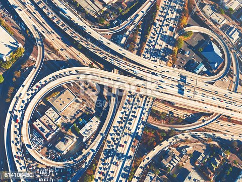 istock Aerial view of a freeway intersection in Los Angeles 614106430