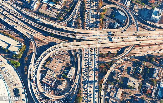 istock Aerial view of a freeway intersection in Los Angeles 656783894