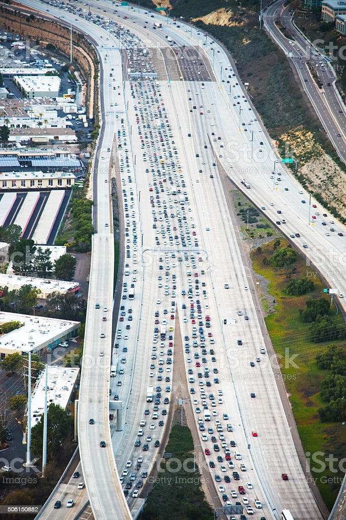 Aerial View of a Freeway Traffic Jam stock photo