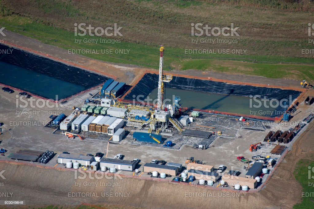 Aerial view of a gas well stock photo