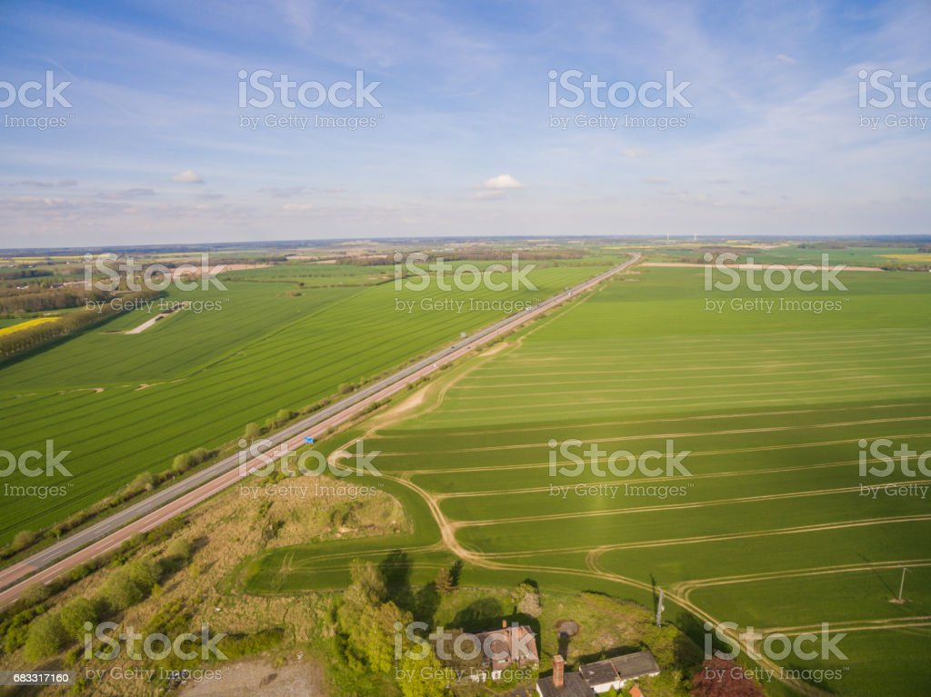 Aerial view of a geman highway in the green agricultural landscape royalty-free stock photo