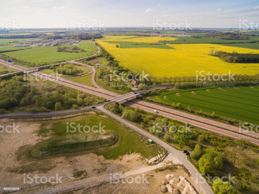 Aerial view of a geman highway in the green agricultural landscape foto stock royalty-free