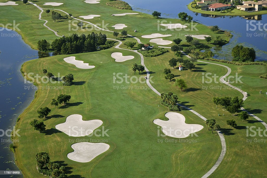 aerial view of a golf course royalty-free stock photo