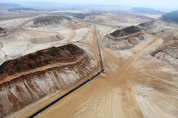Aerial view of a gravel mine stock photo