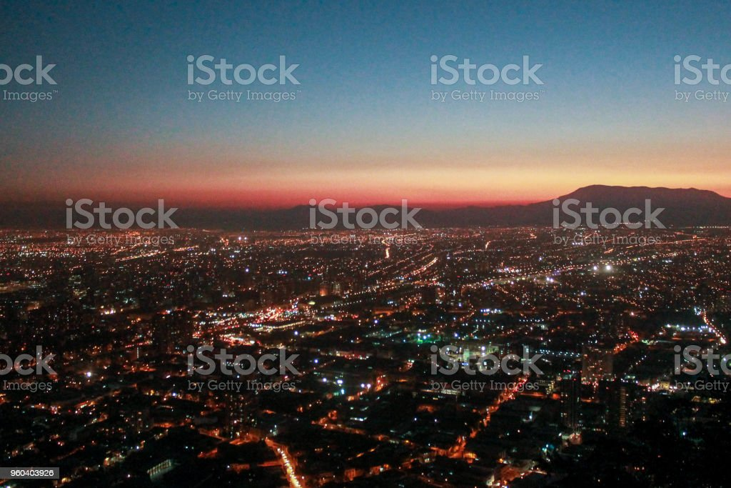 Aerial view of a great metropolis at night. stock photo