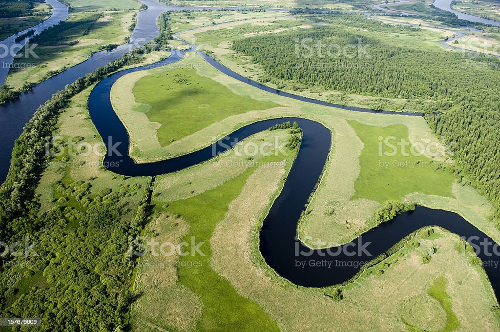 Aerial view of a green landscape stock photo