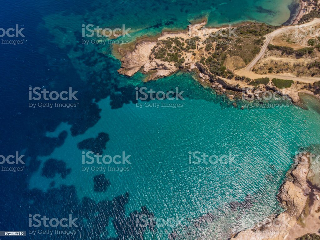 Aerial View of A Gulf in Aegean Sea in Summer stock photo