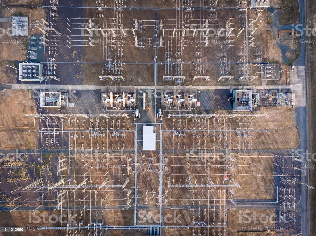 Aerial view of a high voltage substation stock photo