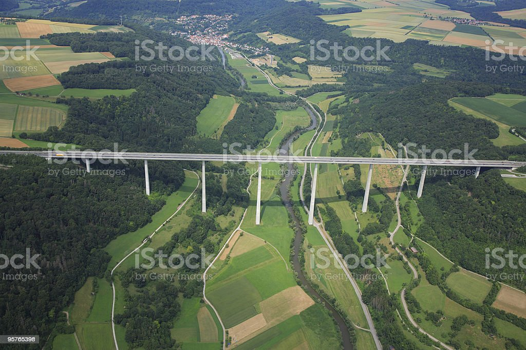 Aerial View of  a Highway Bridge stock photo