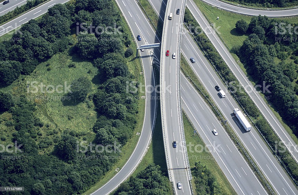 Aerial View of a Highway Intersection royalty-free stock photo