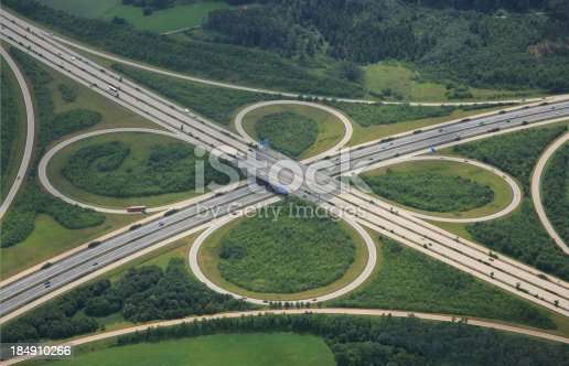 istock Aerial View of a Highway Intersection 184910266