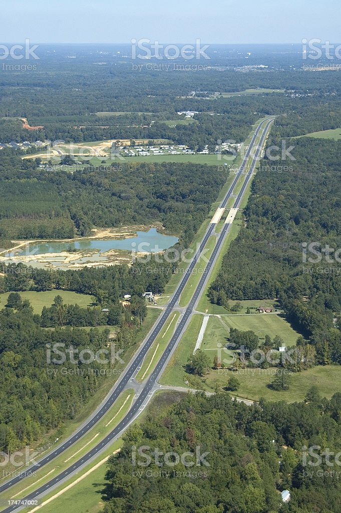 Aerial view of a highway royalty-free stock photo