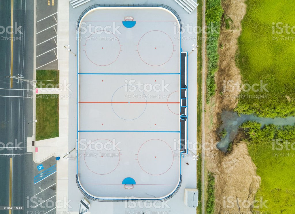 Aerial view of a hockey court stock photo