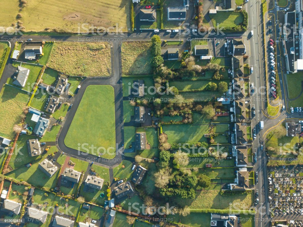 Aerial view of a housing estate in rural Ireland. royalty-free stock photo