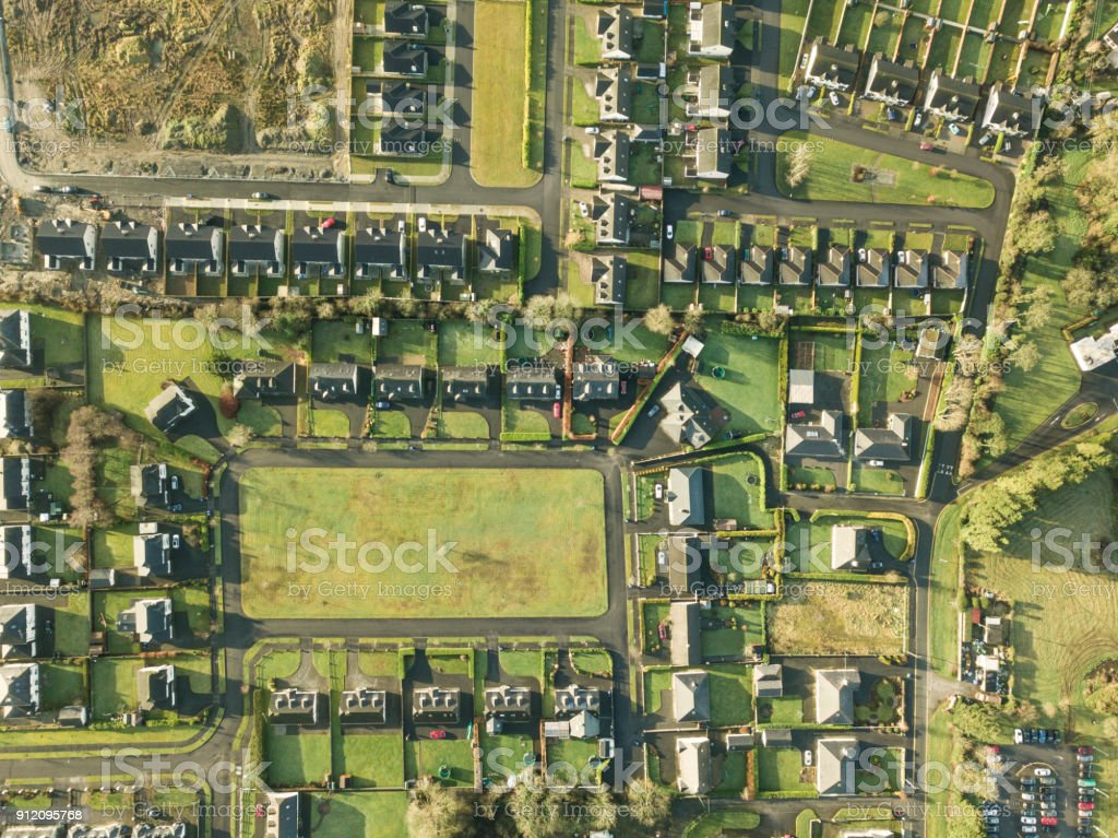 Aerial view of a housing estate in rural Ireland. stock photo